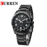 Fashion CURREN 8107 Black Men's Quartz Stainless Steel Watch Men Analog Sports Watch Water Resist 30 m hot sales