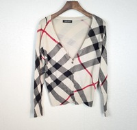 2014 Fashion Women's Striped Pattern Printed Knitted Slim Cotton Cardigans Sweater