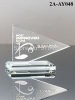 Noble high quality best selling new design Golf Flag Glass Award jade glass golf trophy