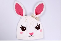 2014 New Children Winter Woolen Hat  Baby Girl Knitting Cap Lovely White Rabbit Bomber Hats  4 size fit for 1-5Y