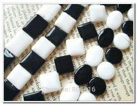 Mix 5 Styles 118Pcs ( 14MM & 13*18MM ) Natural Black & White Stone Bead Strands Jewelry Beads
