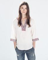 2014 Autumn New Women's Beading Cotton Blusas Femininas Printed Blouse For Women Desigual Vintage Ladies Blusa Fashion Tops