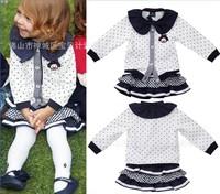 Big Promotion 2014 Children Girl Dress O-neck Cartoon Cute  Print Dots Print Tiered Girls  Dress  K6161