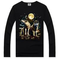 Free shipping Tee shirt long brand men 2014,men's long slevee shirt,cartoon logo tshirt rock ,tshirt 3d print