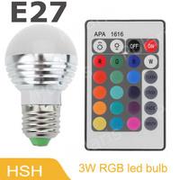 E27 3W RGB LED Light Bulb + 24key Remote Controller Magic Lighting 16 Colors change 50pcs/lot