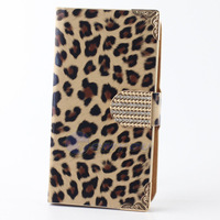 Fashion Leopard Style Skin Card  Wallet Leather Flip Case Holder For Samsung Galaxy S3 I9300 Cell Phone + Free Lanyard