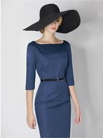 New Women Autumn Winter Dresses Vintage Elegant Slim Pencil Fashion High Quality  Elegant Full  Long Women Work Dress  A133