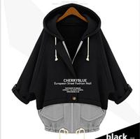 Large size women loose thin false two SET  Folding sleeve hooded drawstring sweater bat type