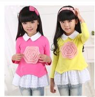 New 2014  Children's Long-sleeved Shirt For Girl Spring And Autumn  Children's long-sleeved T-shirt With Flowers