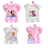 2014 New Children's T-shirts Girls Short-sleeved Summer Shirt Tops K6142