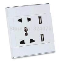 universal wall socket 85-265V 220V / USB socket 5V 1A/2.1A dual USB charging ports for mobile phone and tablets