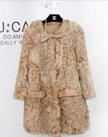 2014 winter new big long coat Slim  Ms. whole lamb fur leather wool fur coat