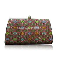 New Arrivals 2014 Plaid National Style Women Clutch Purse Luxury Custom Rhinestone Crystal Handbags Gold Chain Ladies Wallet