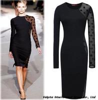 Free shipping New Arrival 2014 Women Dresses Pluz Size Black Lacy Autumn Dress For Women Vestido Women Clothing hot sales