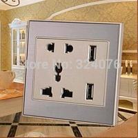 5V two usb port PC&Aluminum material euro usb wall socket / 220V,85-265V wall socket