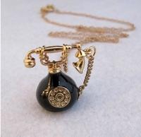 Long Jewelry Sweater Necklaces 2014 Fashion Necklaces For Woman Pendants Necklaces Mini Telephone Necklaces Retro Phone Bijoux