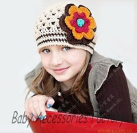 Trial Order Handmade Baby Hat Knitted Wool Flower Baby Hats Crochet Children Beanies Caps Toddler Boy Girl Cotton Hat Cap Hot
