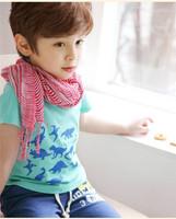 2014 Hot Best Selling Retail Free Shipping Boys Summer dinosaur Tshirts Short Sleeved Kids Tees