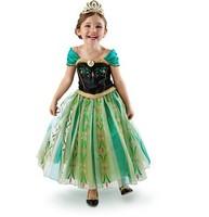 2014 Frozen Elsa dress Anna costume princess queen cosplay summer girl clothes 5 sizes/lot