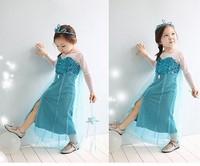 New Frozen elsa dress princess Cosplay queen Costume girls party dresses 5 sizes/lot