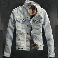 fashion original mens High quality water wash retro finishing slim denim jacket vintage denim cowboy stylish jean jacket for men