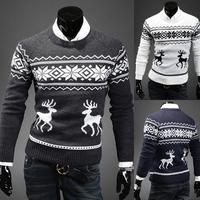 New 2014 Fashion Autumn Winter Mens clothing Crewneck Casual Deer Pullovers Shirt  Coat Man