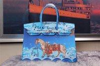 ALL NEW High-quality (1:1) 30CM Blue Horse Print (H-handbags) Women's handbags purse 100% Genuine leather Tote Gold hardware