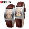 Brand Curren 8112 Couple Watch for Lovers Women Men Quartz Watch Couple Leather Band Waterproof 5ATM Black Brown 1 piece/lot