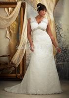 Vintage V Neck Beaded Empire Custom Made Long Backless Lace Plus Size Bridal Wedding Dress