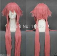 The future diary Gasai Yuno pink Cosplay wigKanekalon Fiber Hair full queen Wigs