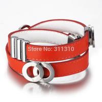 B014357O  Pulseiras Femininas Men Vintage Punk Leather Bracelets New 2014 Designer Bijoux Handmade