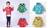 2014 baby autum winter dress thicker fleece jackets kids trench dinosaur fashion printed children outerwear zipper hoodie coat