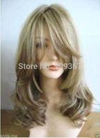 NEW Stylish golden long made wig/wig Kanekalon Fiber Hair full queen Wigs