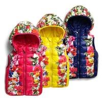 1-St free shipping children winter hooded vest female child with a hood cotton vest flower outwear cotton coat 5pcs/lot