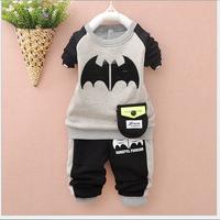 2014 new autumn and winter children's clothing sweater suit child suit Batmancotton plus velvet for boy 1-4years old gray color