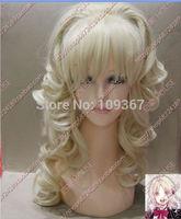Lolita new Cos Light Blonde Medium curly Heat-Resistant WIG Kanekalon Fiber no lace Hair full queen Wigs