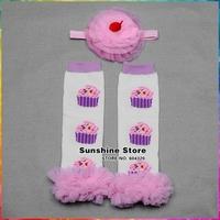 Cake Pattern Ruffles Baby Leg Warmers Chiffon Headbands Set, Kids Cotton Leggings,Knitted Girls Leg Warmers, #3T0029 5 set/lot