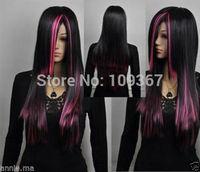 Beautiful fine pink black mixed long straight cosplay wig  Kanekalon Fiber Hair full queen Wigs