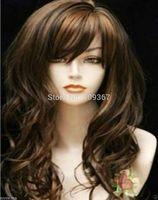 brown mixed long curly cosplay full wig Kanekalon Fiber Hair full queen Wigs