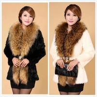 2014 New Women Winter Faux Fur jacket Fashion Long Single Button Super Large Raccoon Dog Fur Collar rabbit fur coat 3 Colors