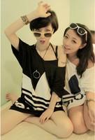 A-198 new 2014 fashion tops loose large size casual clothing women t shirt letter print women bat sleeve t shirt girls
