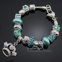 6 Colors European Murano Beads Pulseiras 925 Silver Crown Pendants CZ Crystal Enamel Flower Charms Bracelets + Velvet Gift Pouch