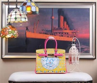 ALL NEW High-quality (1:1) 30CM Yellow and Rosy red  print (H-handbags) Women's handbags 100% Genuine leather Gold hardware