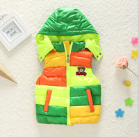 Retail winter children's Outerwear Coats hooded vest Kids windbreaker Jacket Children 100% duck Down coats Vest,baby warm vest