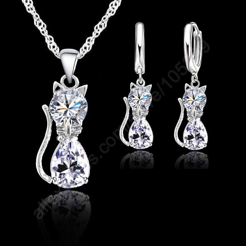 Kitty Cute Animal 925 Stering Silver Jewelry Sets(China (Mainland))