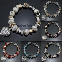 Valentines Gift Dangle Love Heart Pendant CZ Stone Charm Pulseira European Crystal Beads 925 Silver Bracelet + Velvet Gift Pouch