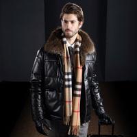 Male Natural Raccoon Fur Collar Genuine Sheepskin Leather Down Jacket Warm Men Winter Luxury Thick Outwear 2014 New Arrival