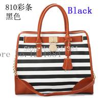 promotion! 810 WOMEN'S fashion M hamilton Stripe lock rivet bag designers famous brand handbags purse lady's 2014 new totes bags