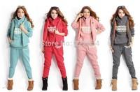 New 2014 Winter Fashion Women Thick Hoodie Set (hoodie,pants,vest) 3pcs/set Sport Suit letters print casual hooded sweatshirt