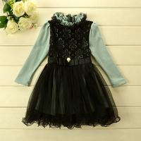 2014 New autumn,girls princess dress,children lace floral dress,long sleeve,beads,black/pink,5 pcs/lot,wholesale,1788